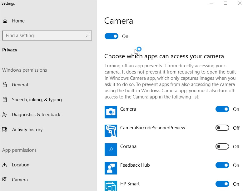 Webcam Settings for Windows 10