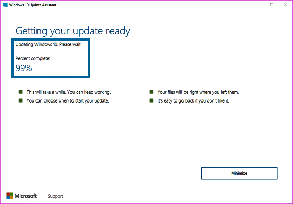 Windows 10 Upgrade Assistant Stuck at 99 - Preparing Windows