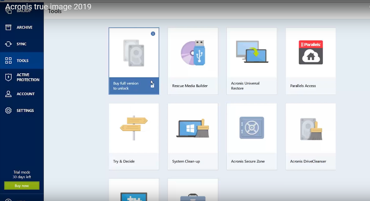Best Backup Software for Windows 10 Acronis True Image 2019